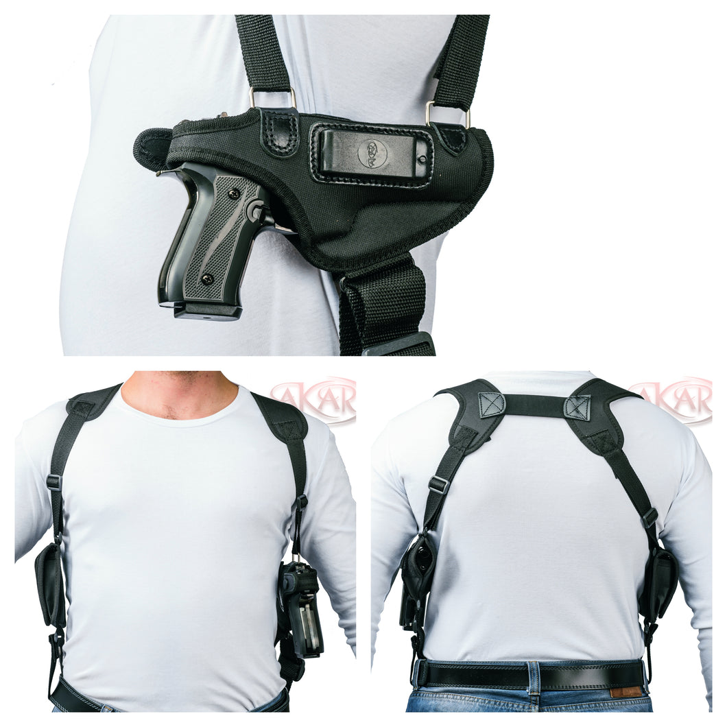 GLOCK 17, 19, 22, 23, 31, 32, 34, 35, 39 Akar Horizontal Shoulder Holster Right Hand, Black Fits -no magazine pouch