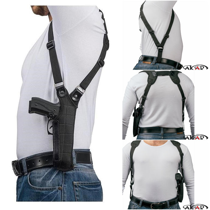 Akar UNIVERSAL Right Hand Vertical Shoulder Holster Fits Most Popular Medium and Large Frames 3.5