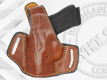 Load image into Gallery viewer, GLOCK 43X OWB Thumb Break Leather Belt Holster - Choose Your Hand and Color