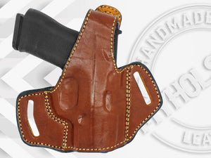 GLOCK 43X OWB Thumb Break Leather Belt Holster - Choose Your Hand and Color