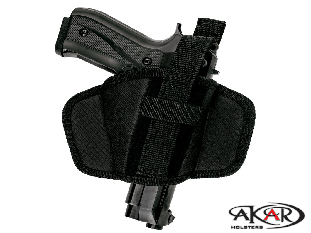 Ruger P944 OWB Leather &  Nylon Thumb Break Pancake Belt Holster