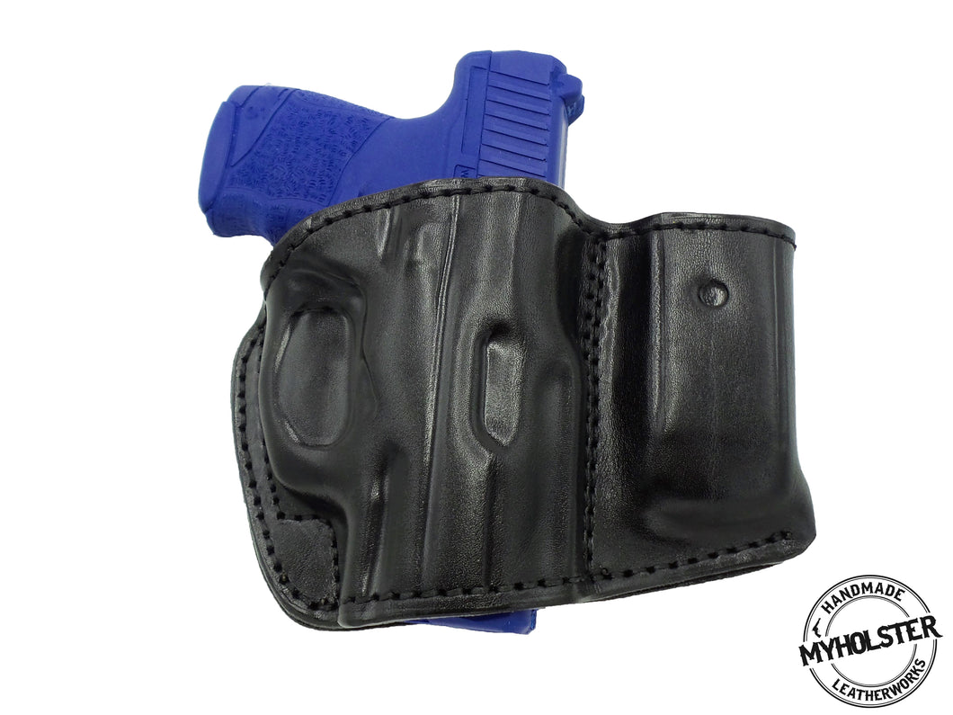 Black Belt Holster w/Mag Pouch Leather Holster Fits WALTHER PPS M2