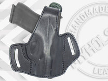 Load image into Gallery viewer, HK VP9 OWB Thumb Break Black Leather Belt Holster