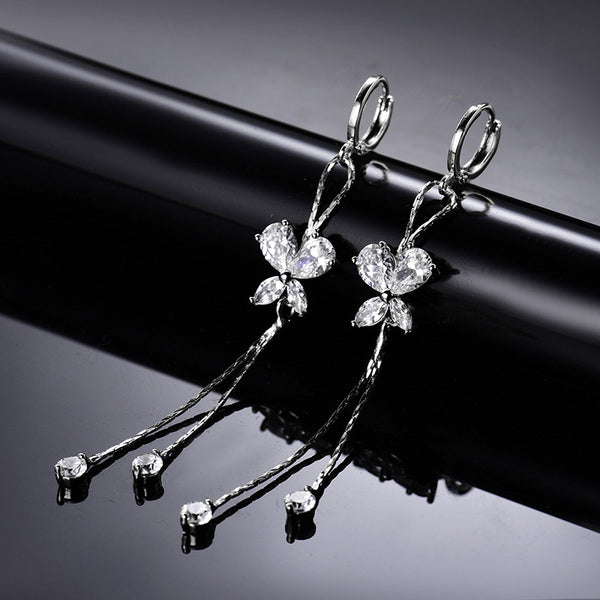 White Gold Crystal Drops & Butterflies Earrings