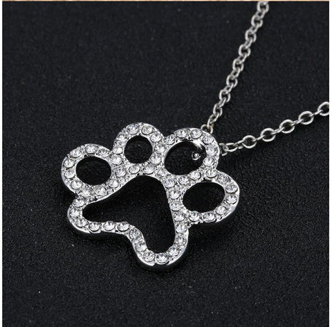 Crystal Paw Print Necklace