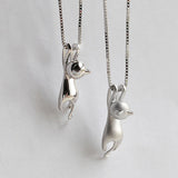 Silver Hanging Cat Pendant Necklace