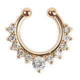 Gold Crystal Fake Septum Nose Ring