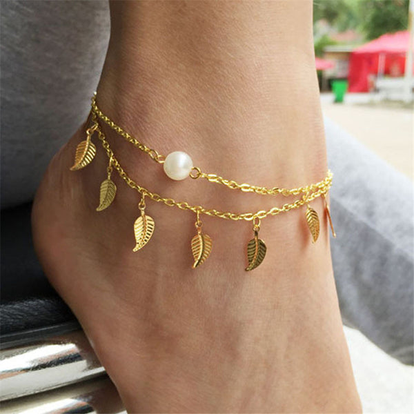 Sun Between The Leafs Anklet Gold