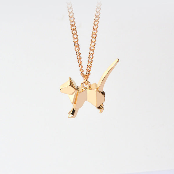 Chain Origami Cat Pendant Necklace