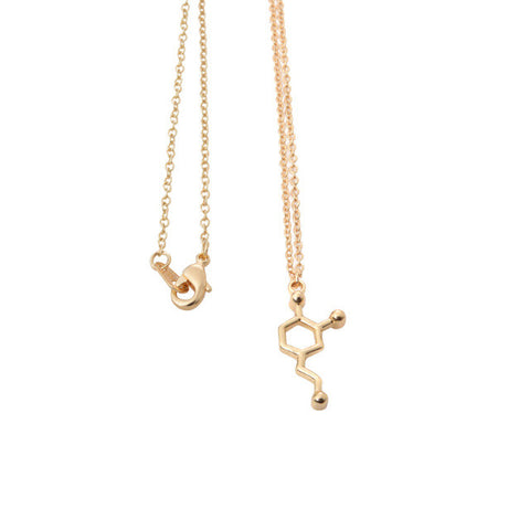 Dopamine Molecule Gold Color Necklace