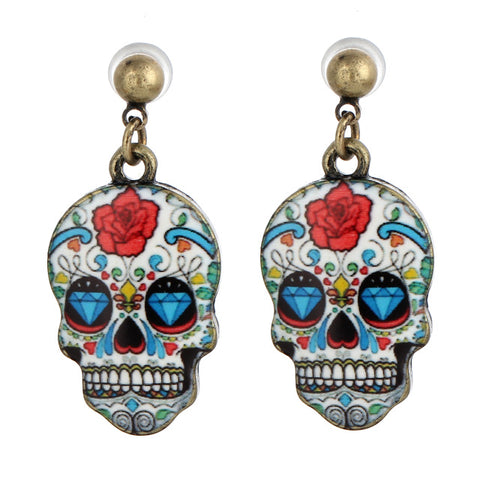 Metal Colorful Skull Earrings