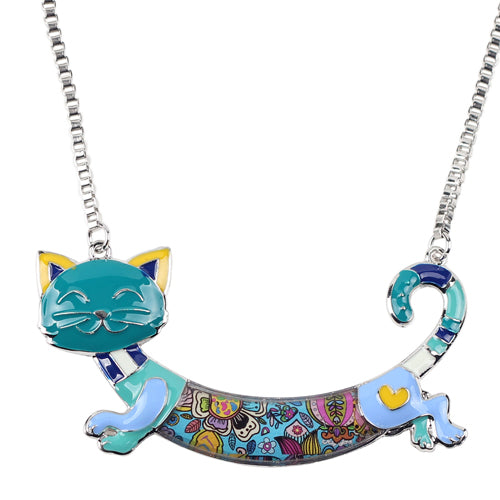 Vintage Colorful Cat Necklace