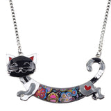 Silver Colorful Cat Necklace