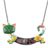 Metal Colorful Cat Necklace