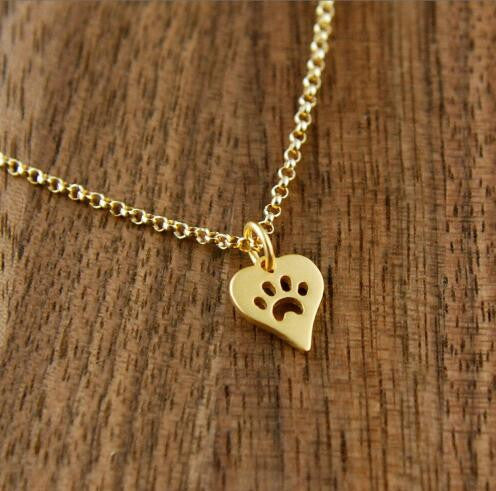 Paw Print In A Heart Necklace
