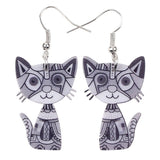 Silver Colorful Cat Earrings