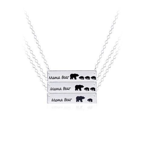 Mama Bear Silver Plated Pendant Necklace