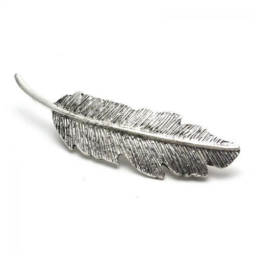 Metal Leaf Shape Clip Silver