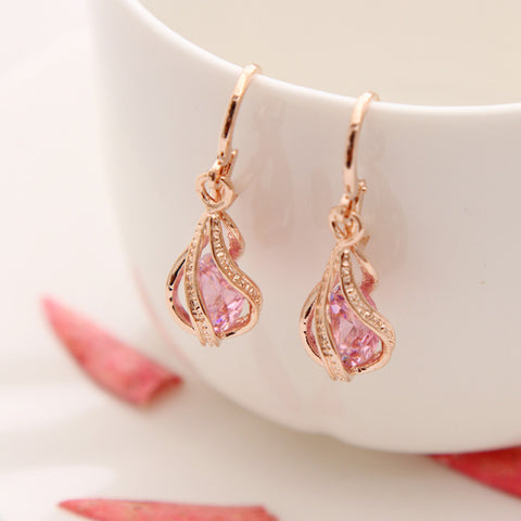 Captured Crystal Drop Pink Earrings