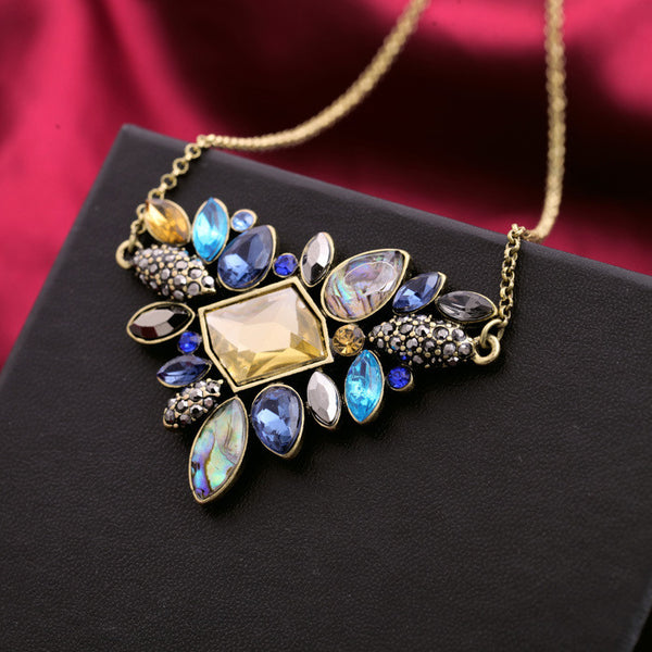 Luxurious Gem Triangle Necklace