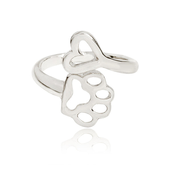 Silver Paw Print Heart Ring
