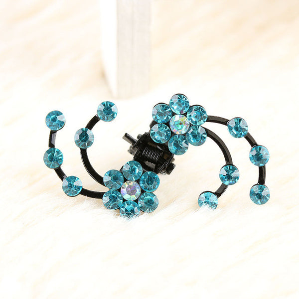 Sparkly Snowflake Flowers Clip Blue