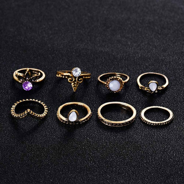 Lucky Bohemian Gold Color Ring Set