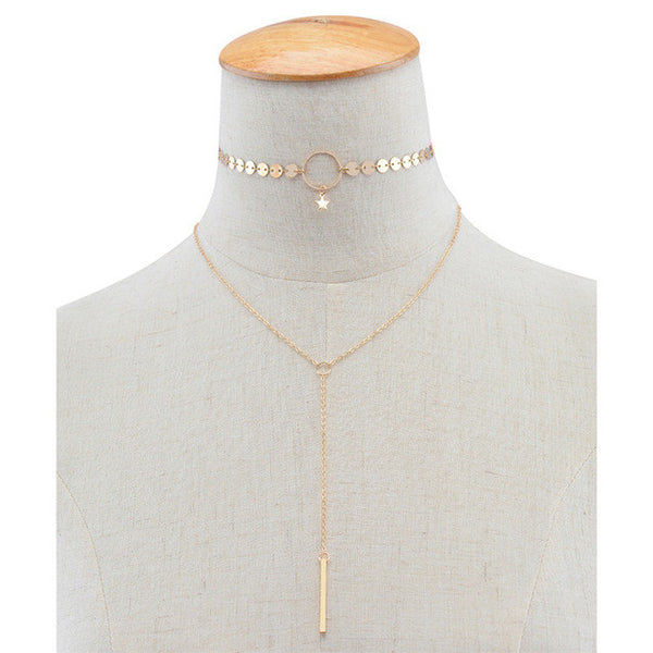 Gold Little Star Choker Lariat Necklace