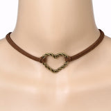 Coffee Color Iron Heart Choker Necklace