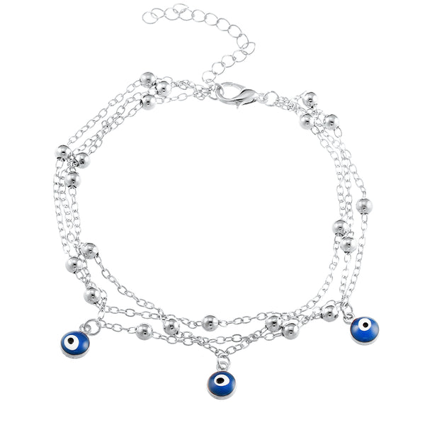 Silver Eye Beads Anklet