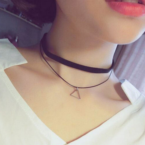 Black Triangle Velvet Choker