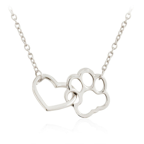 Silver Hollow Paw Print Heart Necklace
