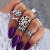 Silver Bohemian Shields Ring Set