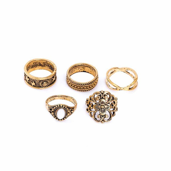 Gold Bohemian Shields Ring Set