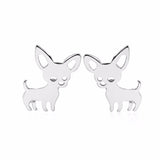 Silver Chihuahua Earrings