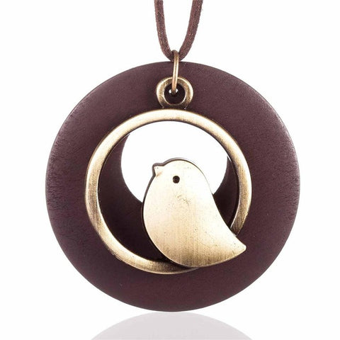 Brown Bird In A Circle Necklace