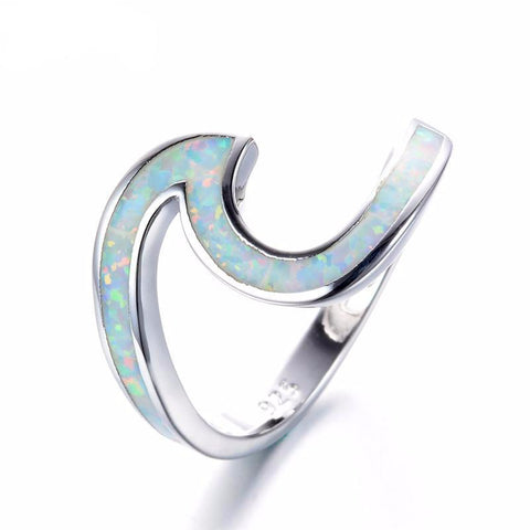 Vintage Opal Fire Wave Ring