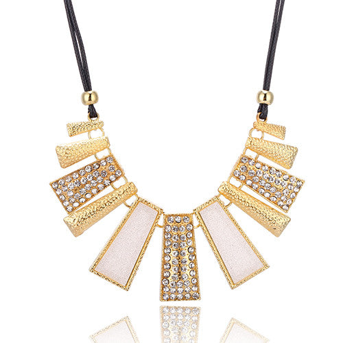 White Crystal Square Necklace