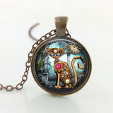 Vintage Steampunk Cat Pendant Necklace