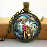 Charm Steampunk Cat Pendant Necklace