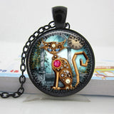 Geek Steampunk Cat Pendant Necklace