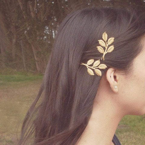 Golden Olive Tree Leaf Clip
