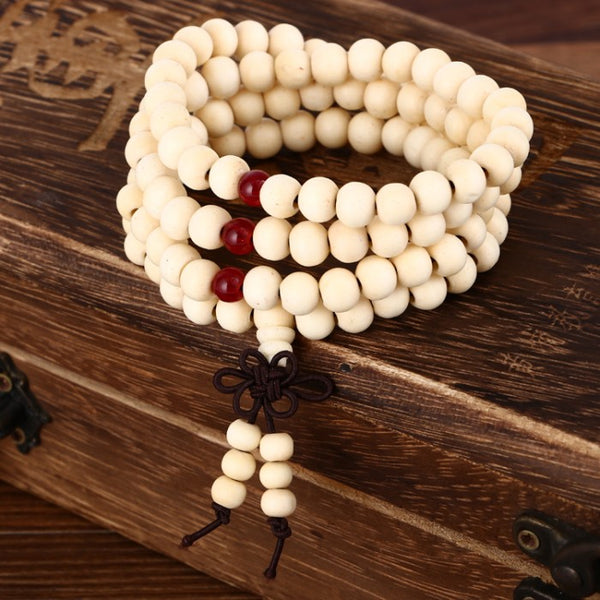 White Wooden Prayer Beads Bracelet