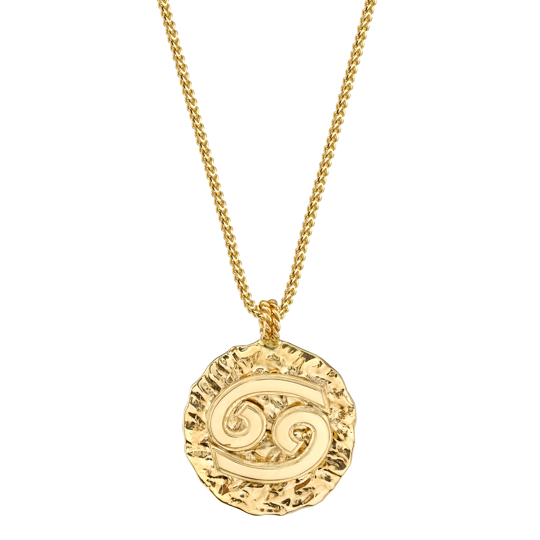 "GOLD LARGE ZODIAC COIN PENDANT 20"" LONG"