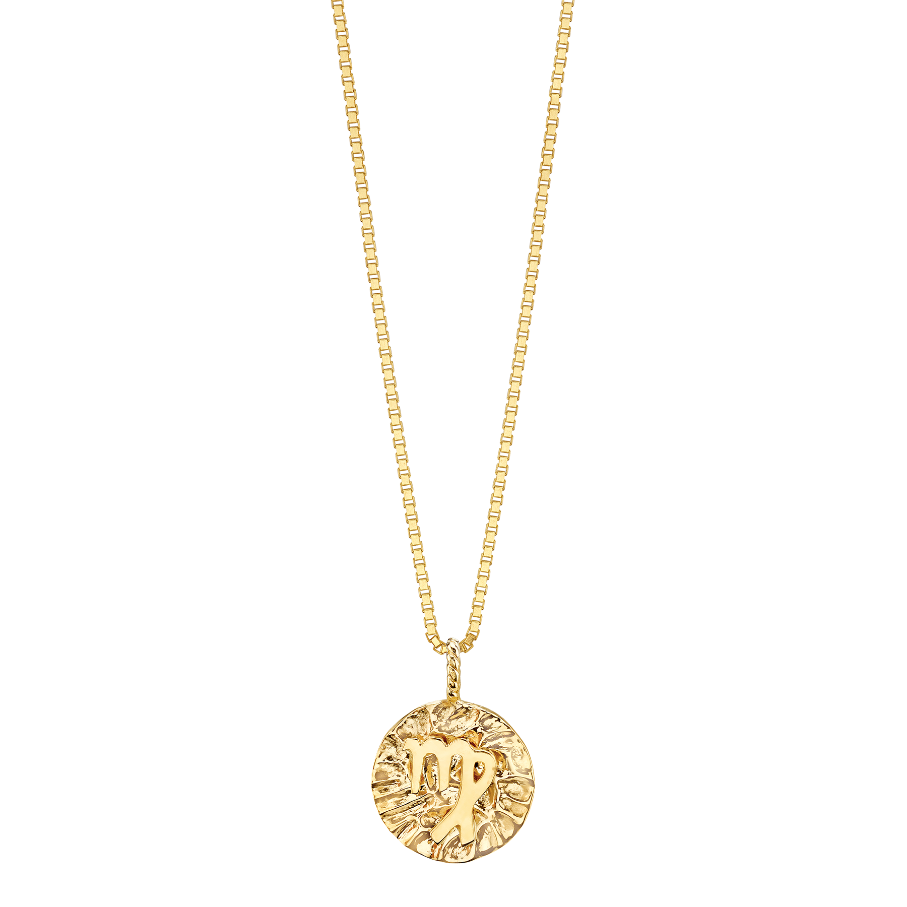 "GOLD COIN ZODIAC PENDANT 20"" LONG"