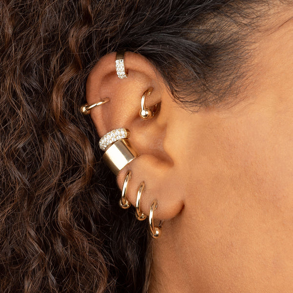 GOLD SPHERE HOOP EARRING