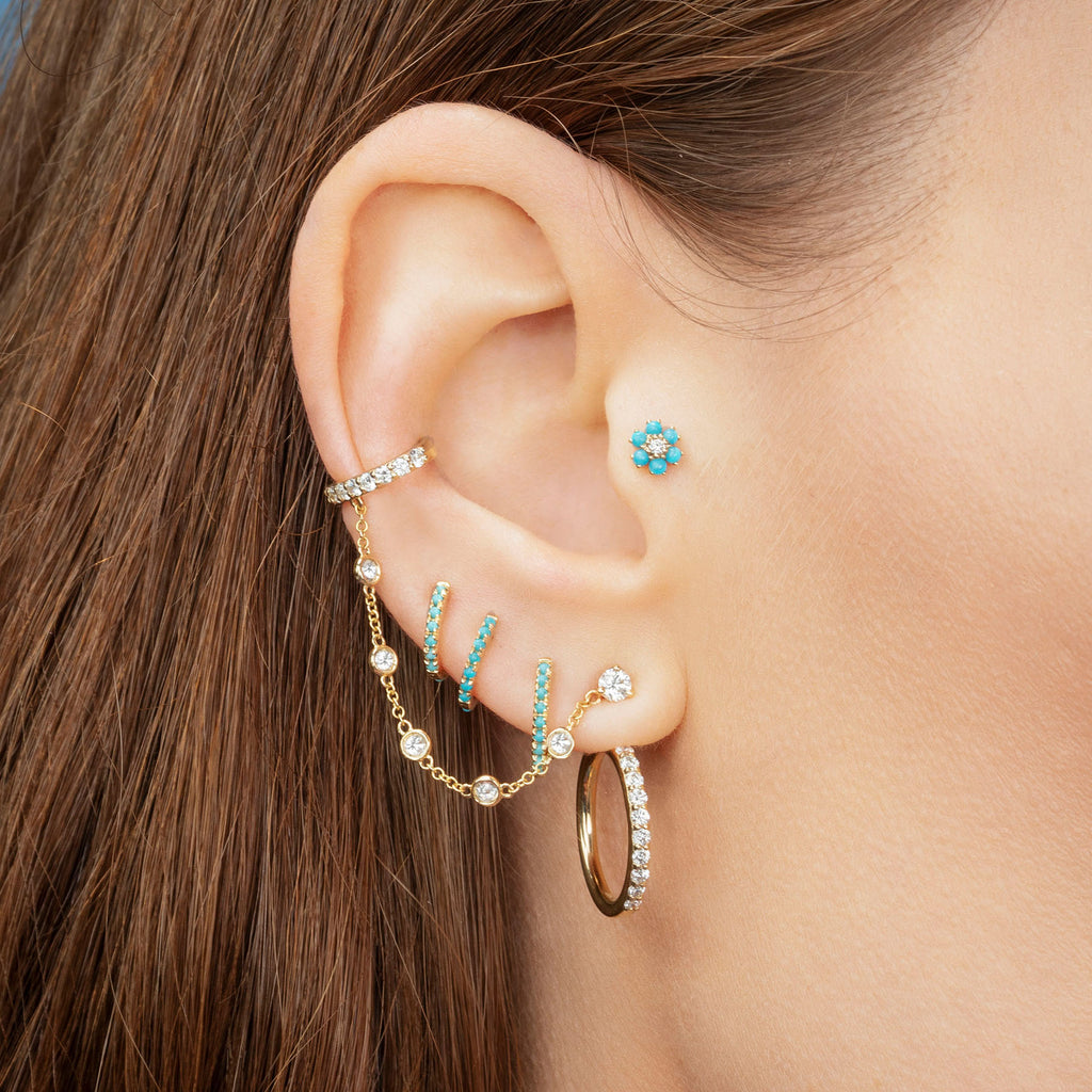 TURQUOISE LARGE HUGGIE EARRING