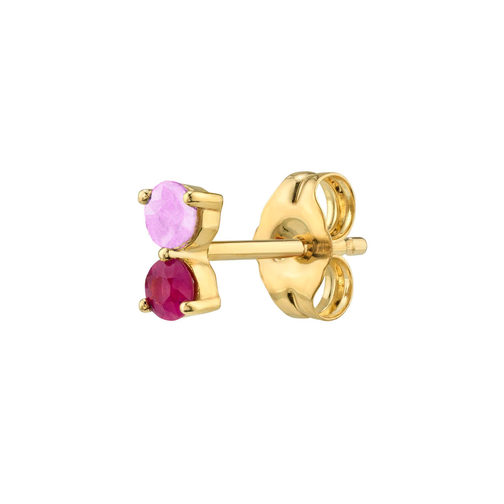 RUBY AND PINK SAPPHIRE DOUBLE STUD EARRING