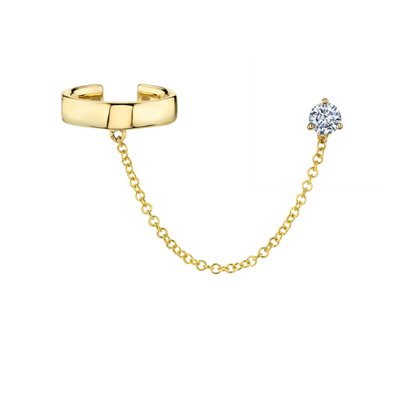 DIAMOND STUD CONNECTED GOLD EAR CUFF AND CHAIN EARRING
