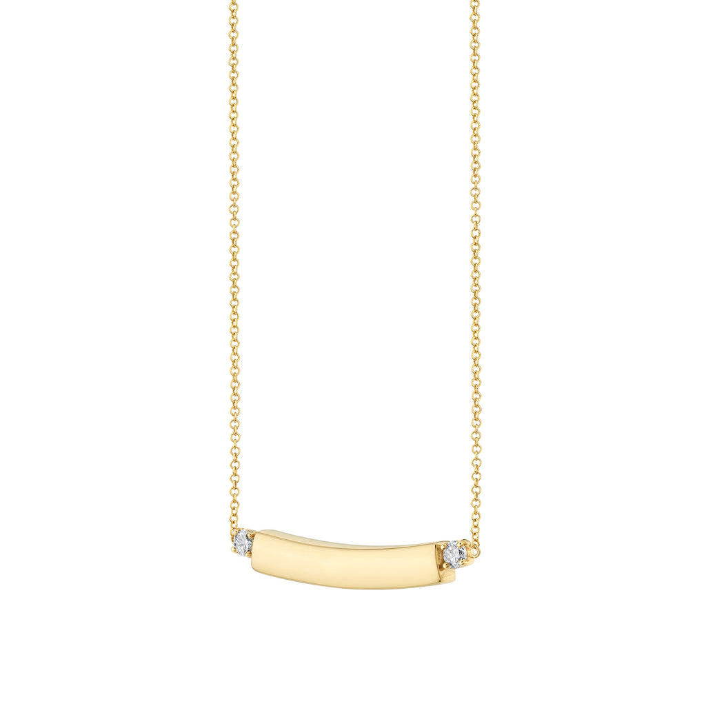 DIAMOND AND GOLD BAR ID NECKLACE